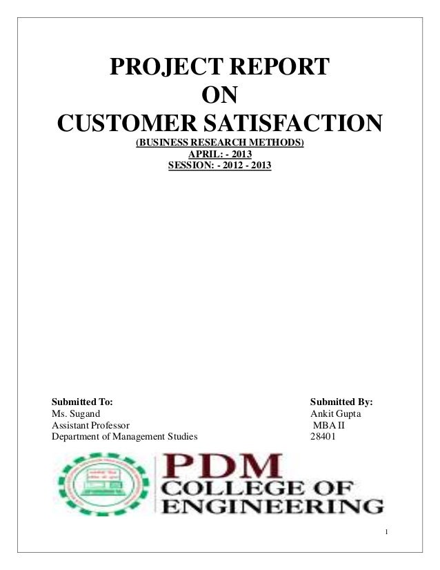 1 PROJECT REPORT ON CUSTOMER SATISFACTION (BUSINESS RESEARCH METHODS) APRIL: - 2013 SESSION: - 2012 - 2013 Submitted To: S...