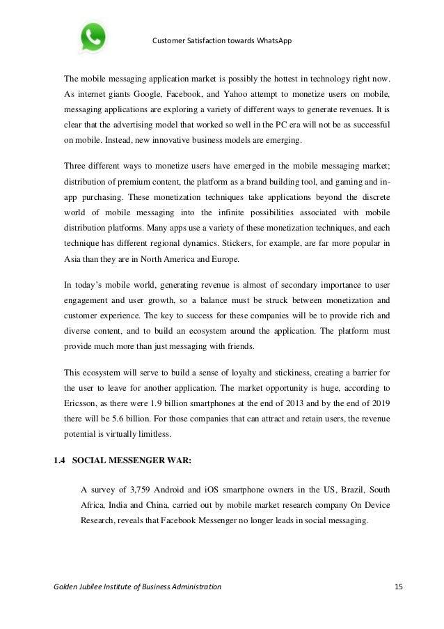 Project Report On Customer Satisfaction Towards Whatsapp