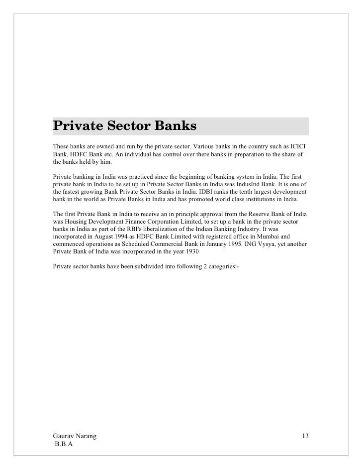private sector bank essay What is the best answer for why do you please refer my following answer on the career path one is subjected to at a public sector bank: your response is private.