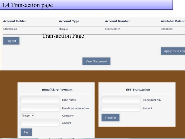Home banking system java project