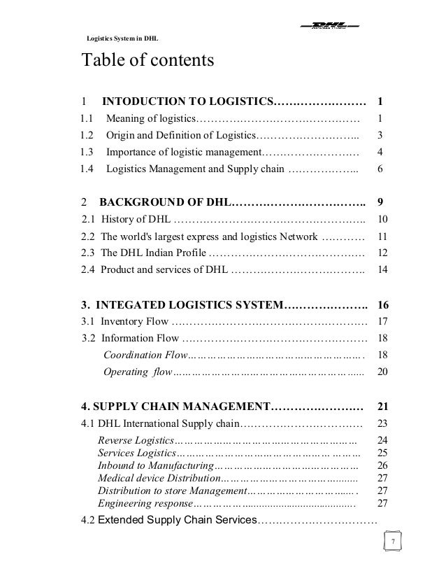 Project report logistic system in dhl 163176466 copy