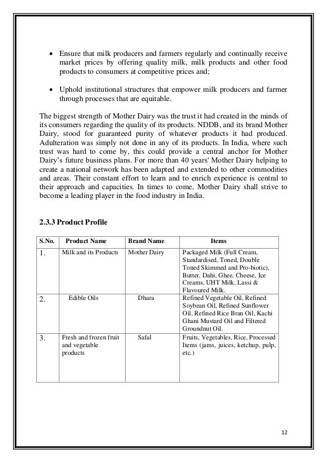 project report on mother dairy Dear friends please find attached model project report for bank loan - others.