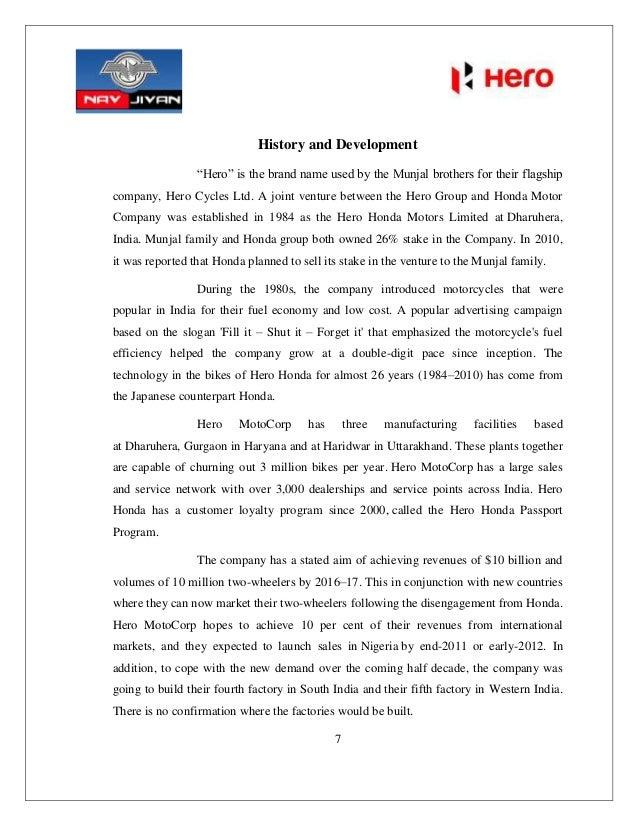 hero honda summer project report Project report of research methodology on comparative study of bajaj v/s hero honda vs index sr no 1 2 particulars objectives history of bajaj - profile - bajaj intro - company history - timeline of new releases.