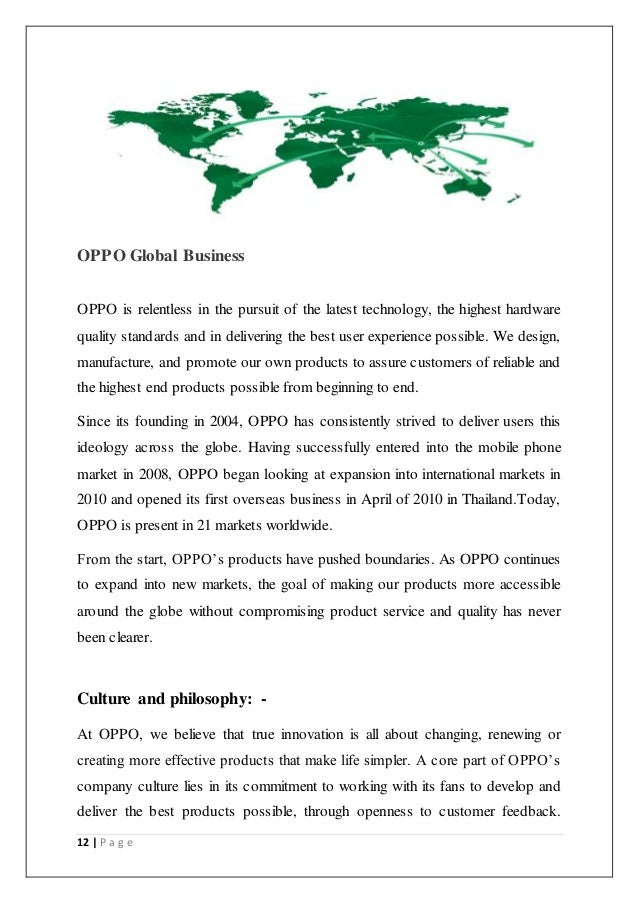 Project report on oppo mobile india pvt ltd on consumes awerness