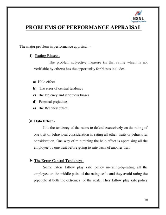 Project Report On Performance Appraisal Of Bsnl
