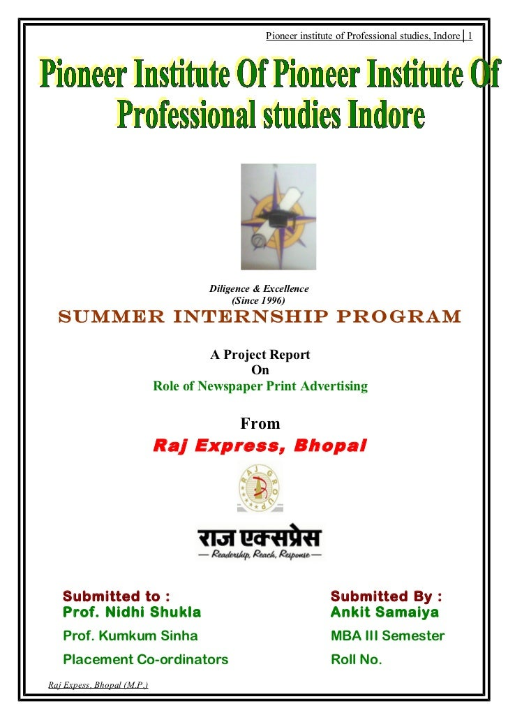 Pioneer institute of Professional studies, Indore│1                                     Diligence & Excellence            ...
