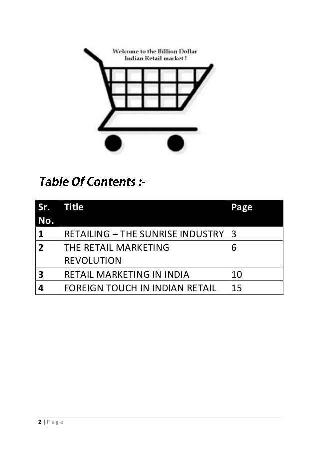 Project Report on the Retail Industry of India