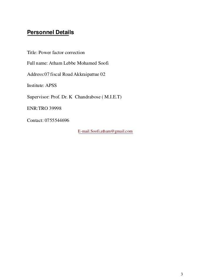 power factor improvement complete project report pdf