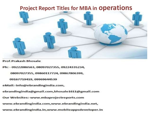 Mba project on production and operation