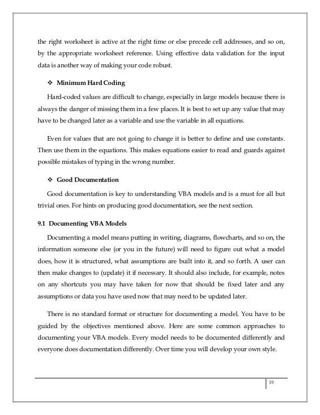 MS Excel Macros/ VBA Project report