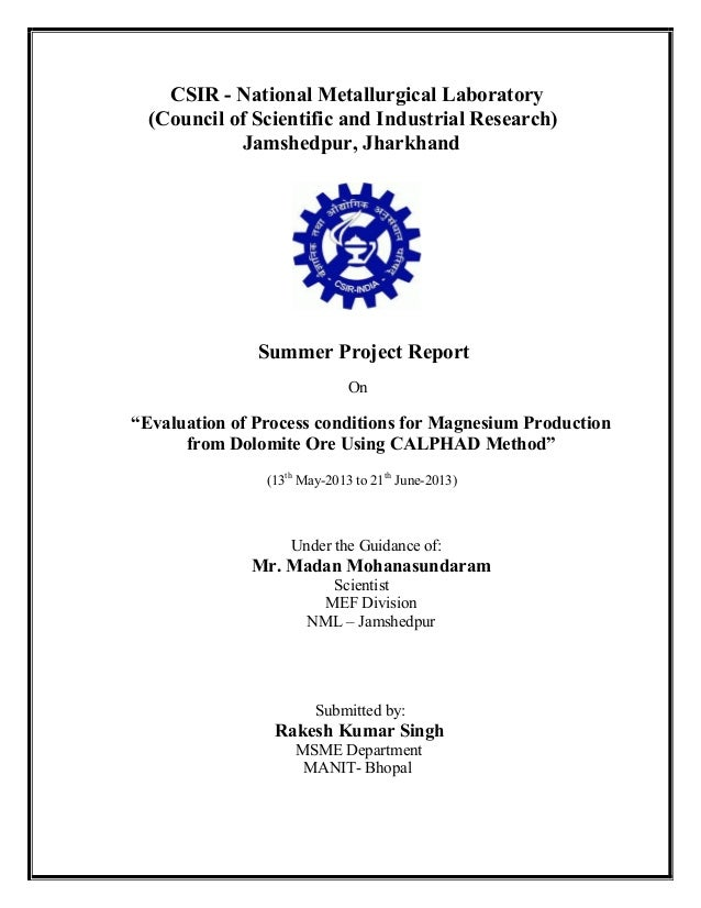 CSIR - National Metallurgical Laboratory (Council of Scientific and Industrial Research) Jamshedpur, Jharkhand  Summer Pro...