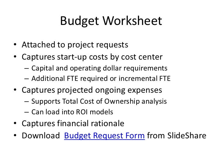 Project Request – Budget Request Form
