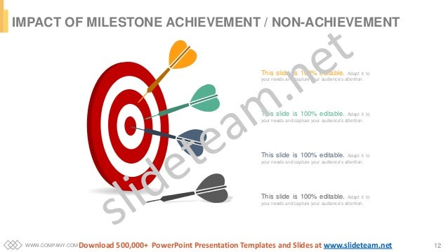 WWW.COMPANY.COM 12 IMPACT OF MILESTONE ACHIEVEMENT / NON-ACHIEVEMENT This slide is 100% editable. Adapt it to your needs a...