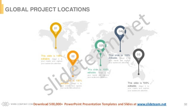 WWW.COMPANY.COM 32 GLOBAL PROJECT LOCATIONS 01 02 03 04 05This slide is 100% editable. Adapt it to your needs and capture ...