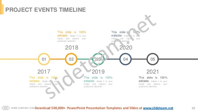 WWW.COMPANY.COM 33 PROJECT EVENTS TIMELINE 2021 This slide is 100% editable. Adapt it to your needs and capture your audie...
