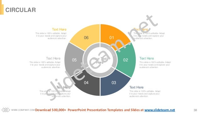 WWW.COMPANY.COM 38 CIRCULAR Your Text Here 06 01 02 0304 05 Text Here This slide is 100% editable. Adapt it to your needs ...