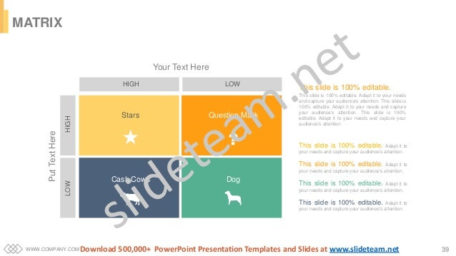 WWW.COMPANY.COM 39 MATRIX HIGH LOW HIGHLOW Your Text Here PutTextHere Cash Cows Stars Question Mark Dog This slide is 100%...