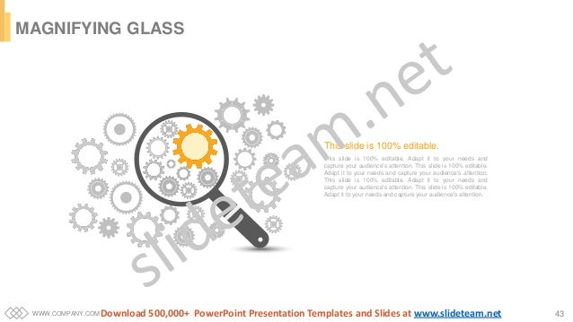 WWW.COMPANY.COM 43 MAGNIFYING GLASS This slide is 100% editable. Adapt it to your needs and capture your audience's attent...