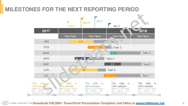 WWW.COMPANY.COM 9 MILESTONES FOR THE NEXT REPORTING PERIOD Feb 1 Mar 21 Apr 6 May 3 2017 2018 Text Here Text Here Text Her...