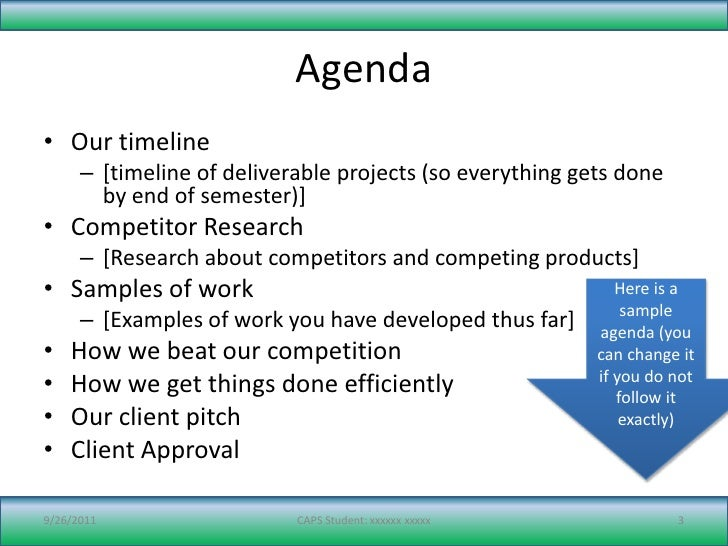 Sample PowerPoint for Project Review – Research Agenda Sample