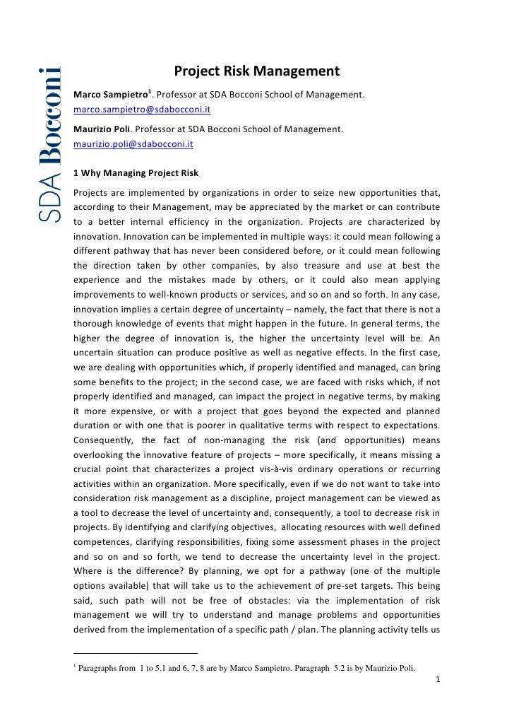 Project Risk ManagementMarco Sampietro1. Professor at SDA Bocconi School of Management.marco.sampietro@sdabocconi.itMauriz...