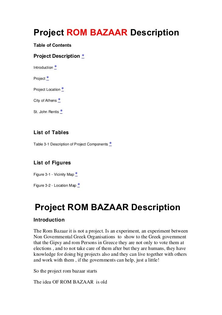 Project ROM BAZAAR DescriptionTable of ContentsProject Description *Introduction *Project *Project Location *City of Athen...