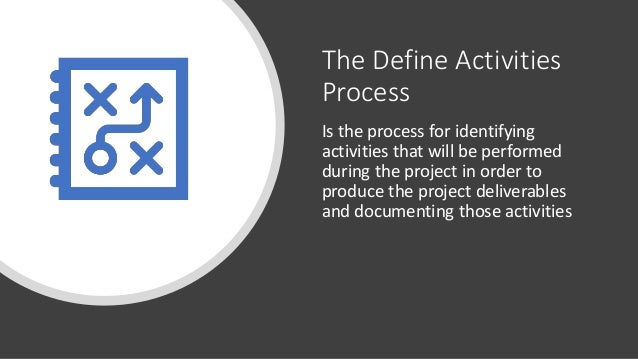 The Define Activities Process Is the process for identifying activities that will be performed during the project in order...