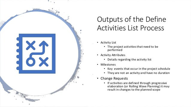 Outputs of the Define Activities List Process • Activity List • The project activities that need to be performed • Activit...