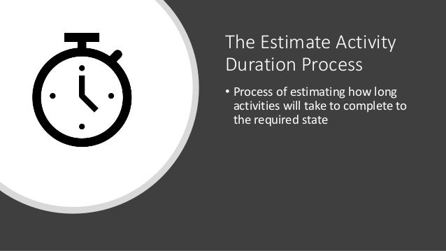 The Estimate Activity Duration Process • Process of estimating how long activities will take to complete to the required s...
