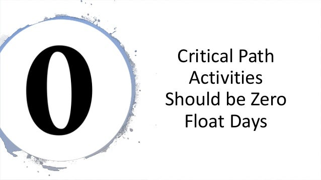 Critical Path Activities Should be Zero Float Days