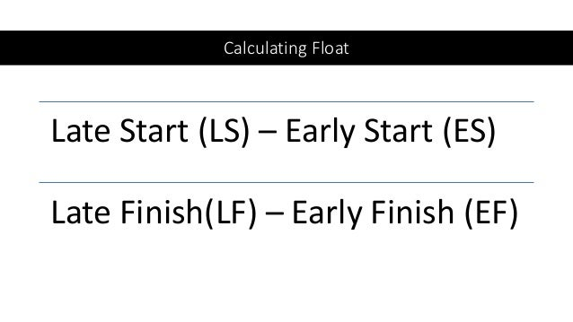 Calculating Float Late Start (LS) – Early Start (ES) Late Finish(LF) – Early Finish (EF)