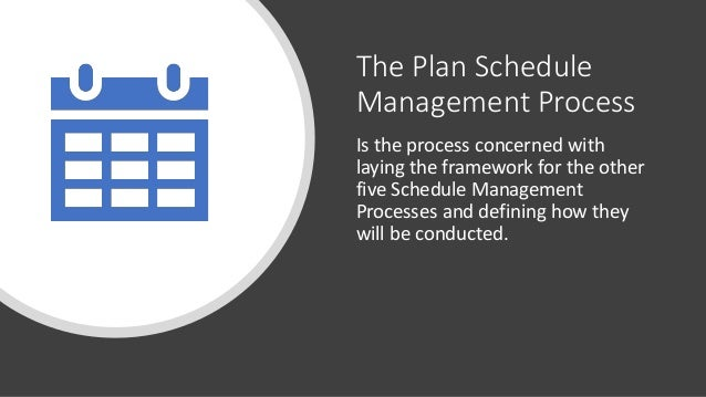 The Plan Schedule Management Process Is the process concerned with laying the framework for the other five Schedule Manage...