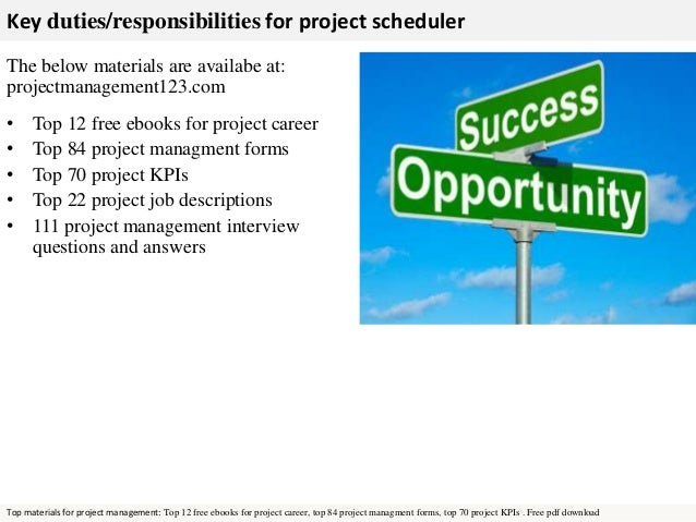 Project Scheduler Job Description  Template