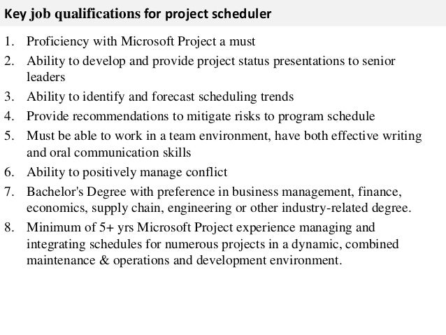 3. Key Job Qualifications For Project Scheduler ...