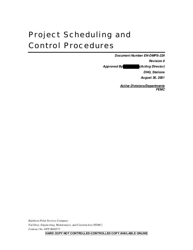 Project Scheduling andControl Procedures                                                                       Document Nu...