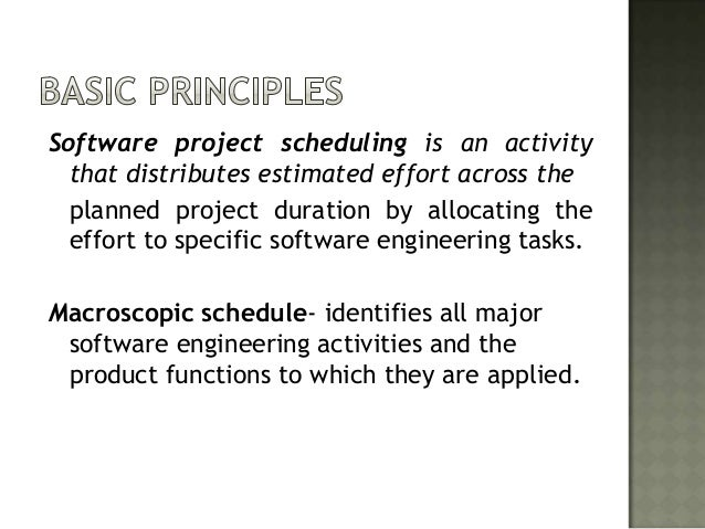 Software project scheduling is an activity  that distributes estimated effort across the  planned project duration by allo...