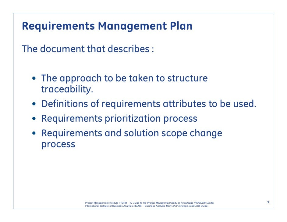 Requirements Management Plan Example