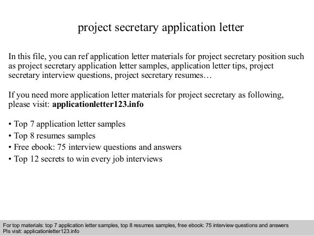 Project secretary application letter project secretary application letter in this file you can ref application letter materials for project altavistaventures Choice Image