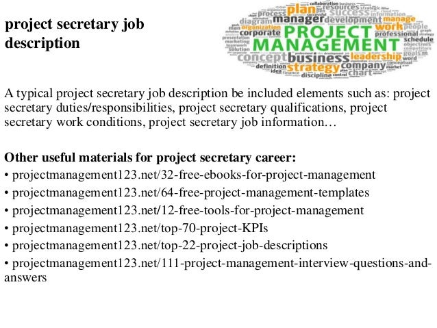 Great Project Secretary Job Description A Typical Project Secretary Job  Description Be Included Elements Such As: ...