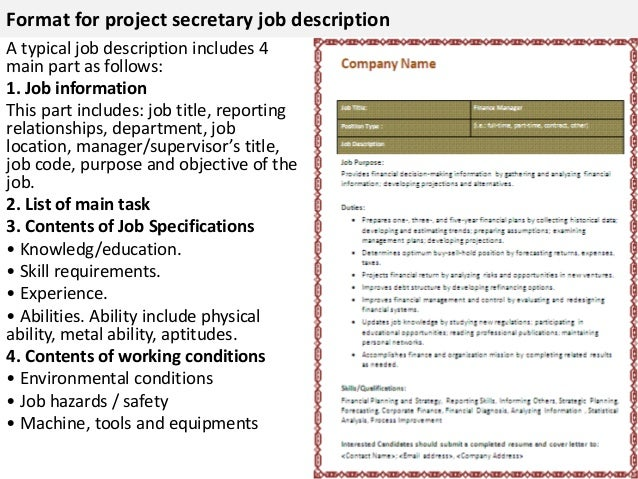 Format For Project Secretary Job Description ...  Job Description Form Sample