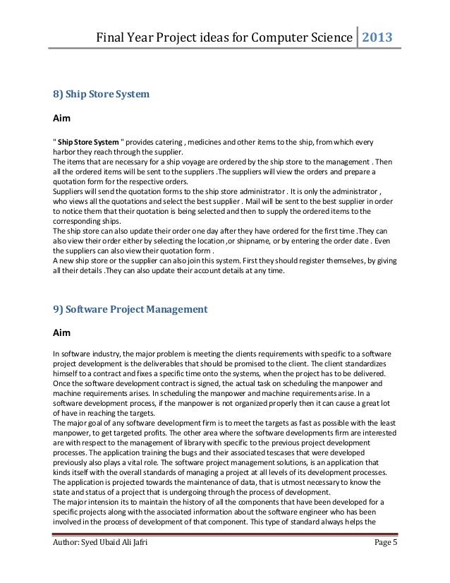 Computer science project thesis
