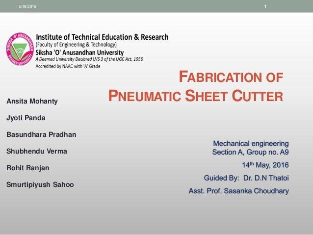 Pneumatic Sheet Metal Cutting Machine Project Report Pdf