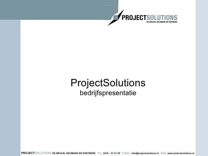 ProjectSolutions bedrijfspresentatie