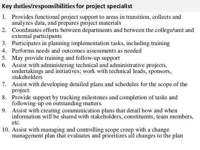 Project Specialist Job Description