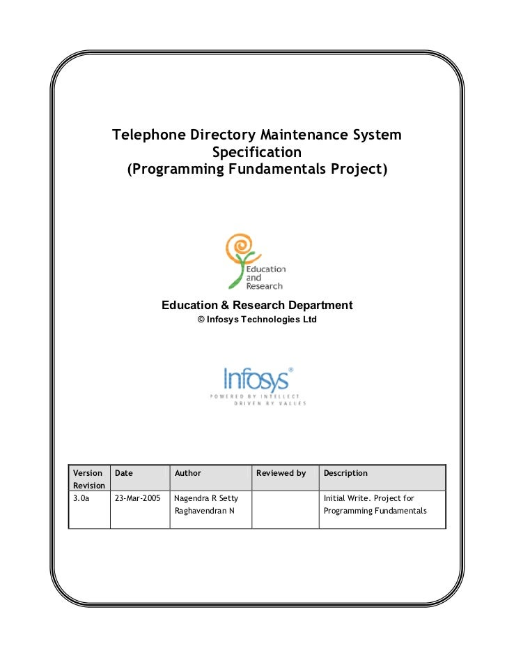 Telephone Directory Maintenance System                         Specification              (Programming Fundamentals Projec...