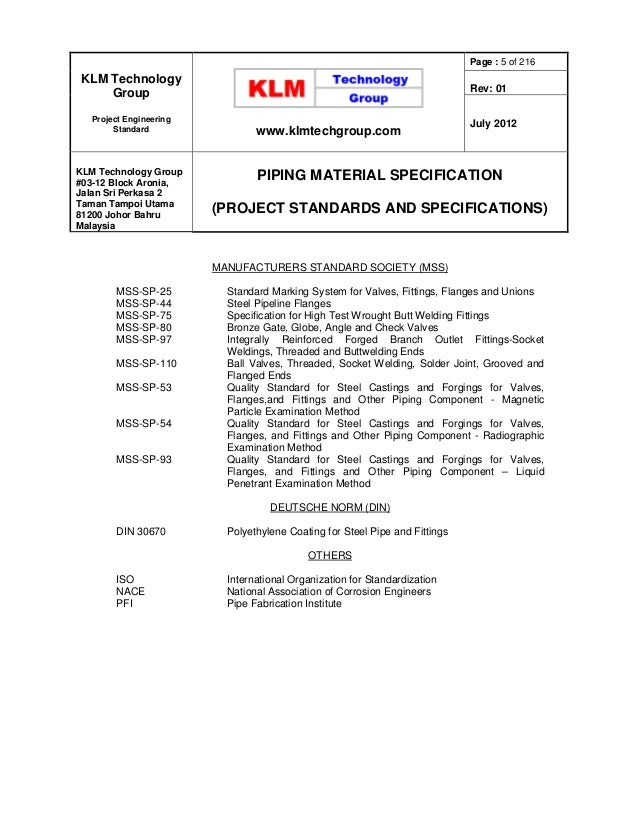 Project Standards And Specifications Piping Materials Rev01web