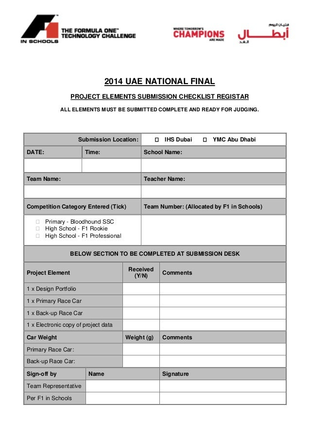2014 UAE NATIONAL FINAL PROJECT ELEMENTS SUBMISSION CHECKLIST REGISTAR ALL ELEMENTS MUST BE SUBMITTED COMPLETE AND READY F...