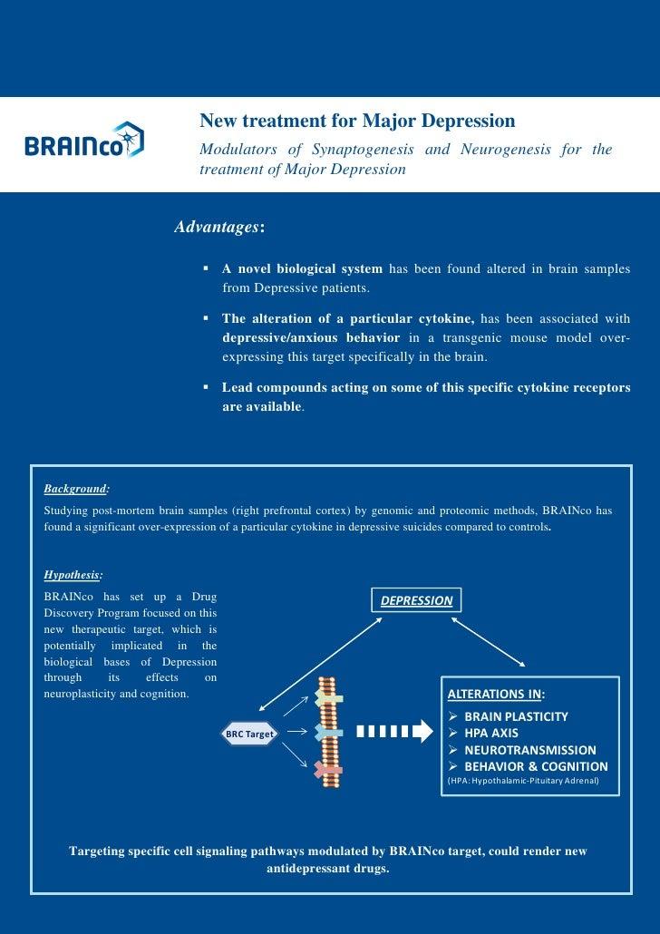 New treatment for Major Depression                             Modulators of Synap...