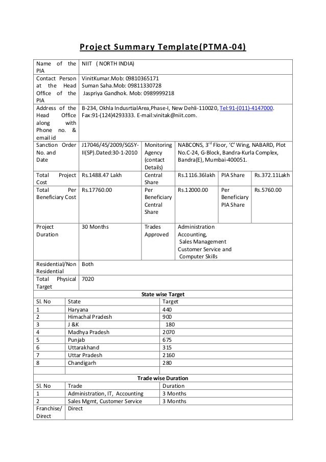 Project summary template1 to 7 1 – Project Summary Template