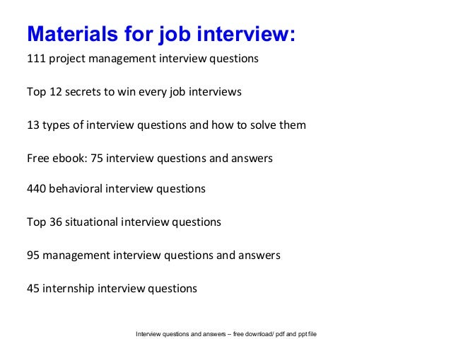 Project supervisor interview questions